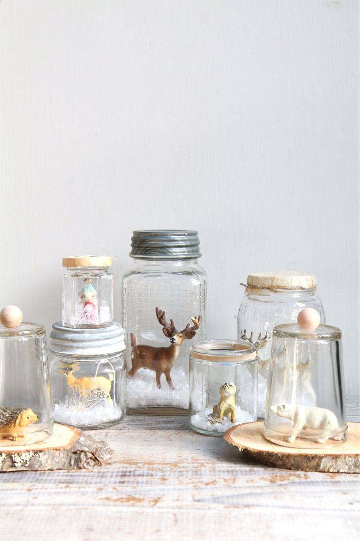 Vintage Handmade Glass Snow Globe / Deer, Reindeer, Mason Jar. $18.00, via Etsy.