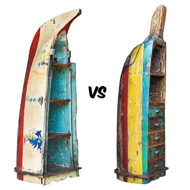 Голосование. 2 наших самых крутых лодки: Соник (слева) и Кетут (справа). Обе лодки-гиганты, обе лодки-долблёнки, обе очень редкие и обе невероятно красочные, в общем уникумы! Какая вам нравится больше и почему, пишите в комментариях, нам очень интересно ваше мнение. Узнать цену и размеры можно на www.likelodka.com Каталог-Лодки-стеллажи-Большие. #recycle #handmade #design #art #уют #ремонт #декор #архитектура #необычнаямебель #дизайнерскаямебель #лофт #дизайнер #дизайнеринтерьера…