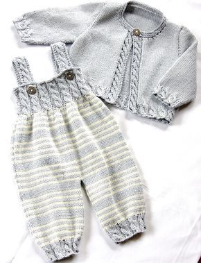 Ravelry: Baby Overalls with detailed cabled bodice and matching sweater P037 by OGE Knitwear Designs