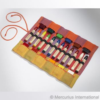 Cotton Wrapper for 12 Wax Crayons and 12 Wax Blocks-crayon holder, crayon case, crayon wrapper, crayons