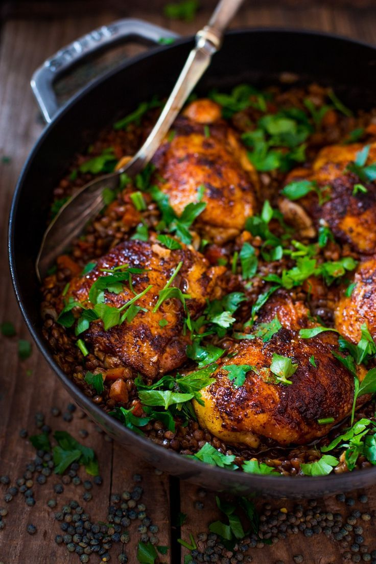 African Berbere Chicken over Ethiopian-spiced Lentils - full of SO MUCH of flavor, healthy and easy w/ a recipe for berbere spice blend. | http://www.feastingathome.com