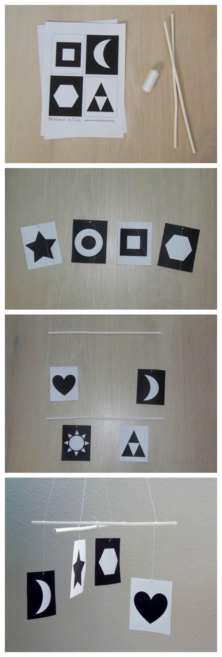 """Móvil de bebé """"Contrastes en Blanco & Negro"""" (Imprimible y tutorial) – """"Black & White Contrast"""" baby mobile (printable and DIY)"""