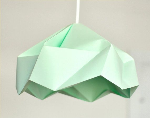 Snowflake Origami Paper Lamp Shade / Lantern  Mint by FiberStore,
