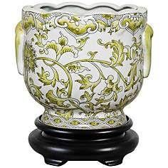 Lemon Floral Porcelain Cachepot