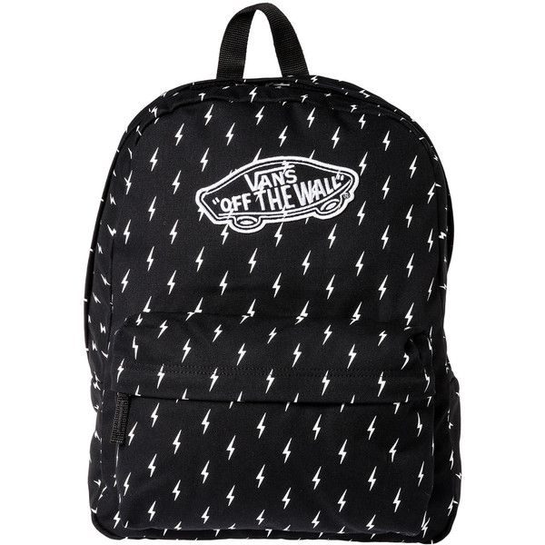 Vans The Realm Backpack in Lightning Bolt ($35) ❤ liked on Polyvore featuring bags, backpacks, accessories, bolsos, mochilas, multi, vans backpack, pattern backpack, pocket backpack и zip bags