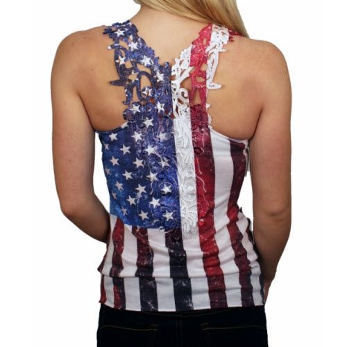 Junior's Laced Back American Flag Tank Top | TheFlagShirt.com