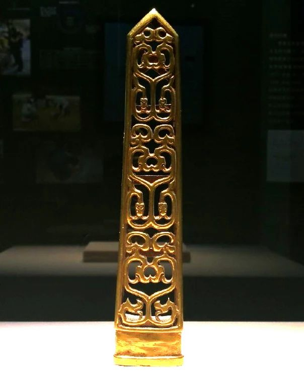 A sword scabbard made of gold, unearthed from a tomb dating back to the West Zhou era (1046 BC–771 BC)