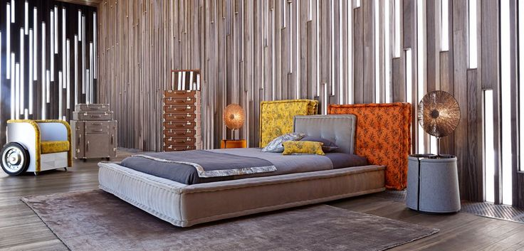 mah jong bed roche bobois upholstered in patterned or. Black Bedroom Furniture Sets. Home Design Ideas