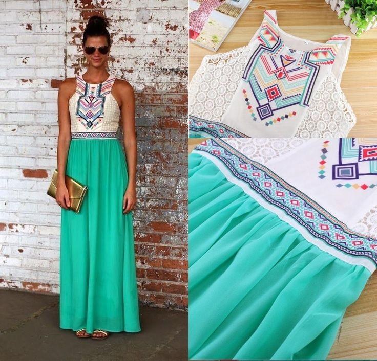 Women's Ladies Summer Chiffon BOHO Long Maxi Evening Party Dress Beach Sundress #Nobrand #Sexy #Casual