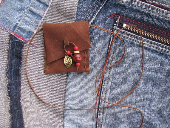 brown embellished gypsy coin pouch - beads boho talisman - brown suede leather - festival necklace - secret keeper