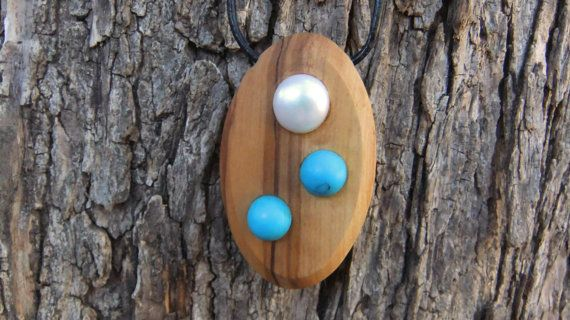 Olive Wood Pendant inlaid with Fresh Water Pear by ellenisworkshop