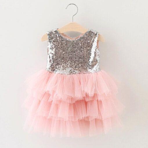 children sequined mesh dress