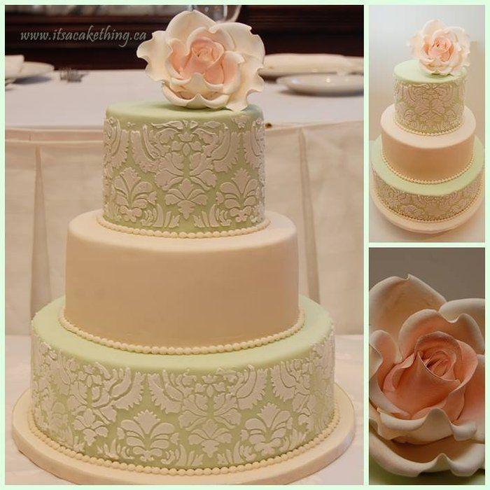Damask Rose Bridal Shower Cake - by itsacakething @ CakesDecor.com - cake decorating website  #weddingshower #cake #bridalshower #itsacakething #cake #rose #mint #ivory #damask #wedding #weddingcake