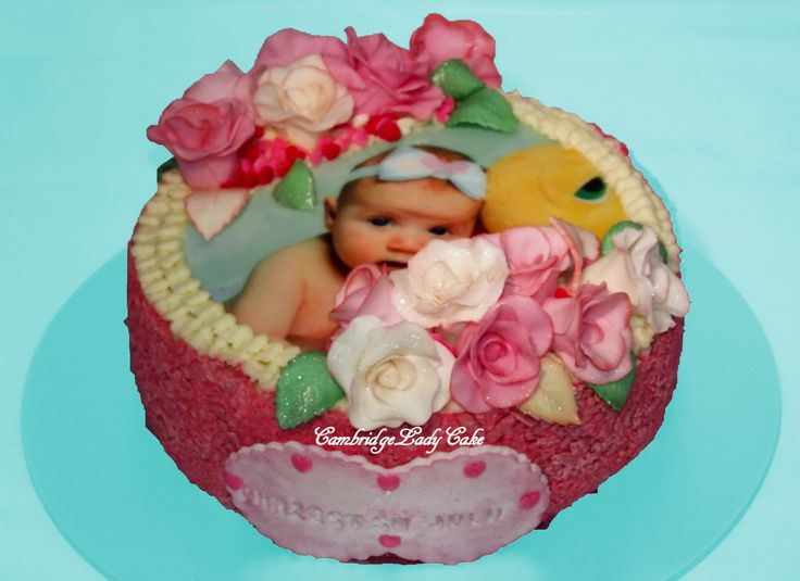 Christening Cake with edible photo.