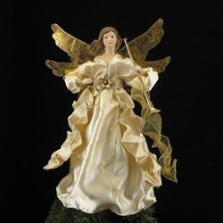 Add a touch of elegance to your holiday with this angel holding a trumpet Christmas tree topper Features: Unlit Fully dimensional tree topper Spiral 31759626