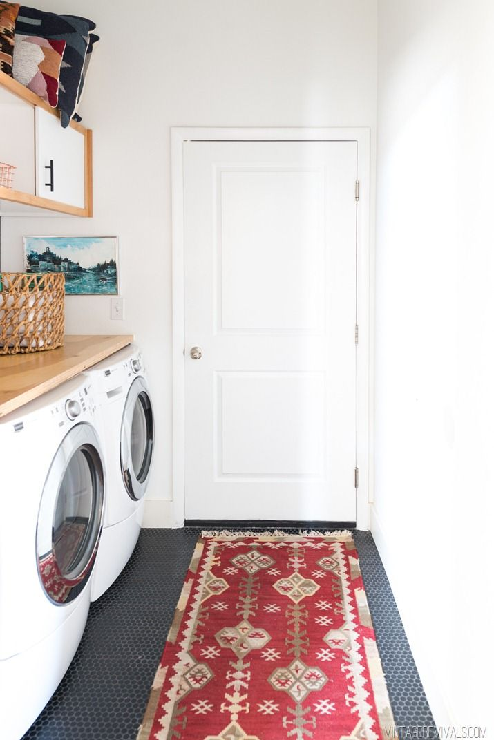 matte black penny rounds (tile) from Home Depot via Vintage Revivals | Laundry Room Makeover: Reveal