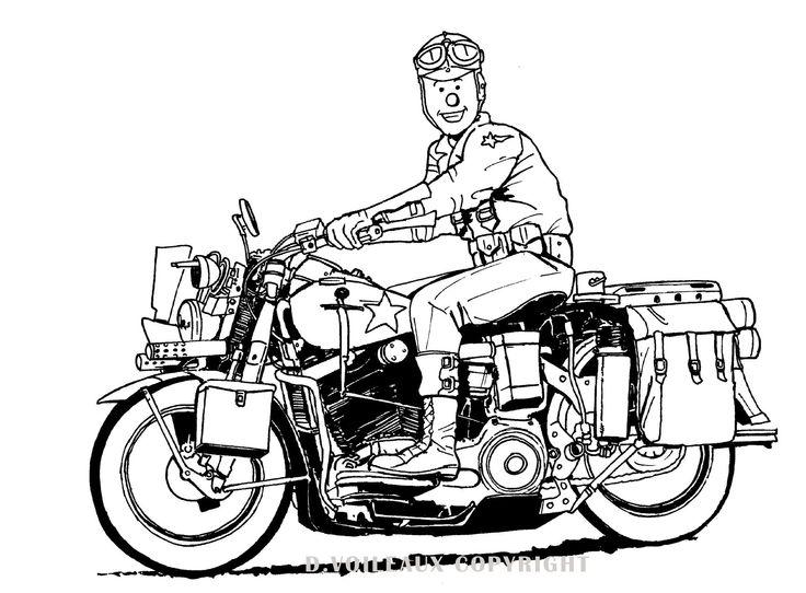Harley Davidson des années 40 -illustration david voileaux copyright