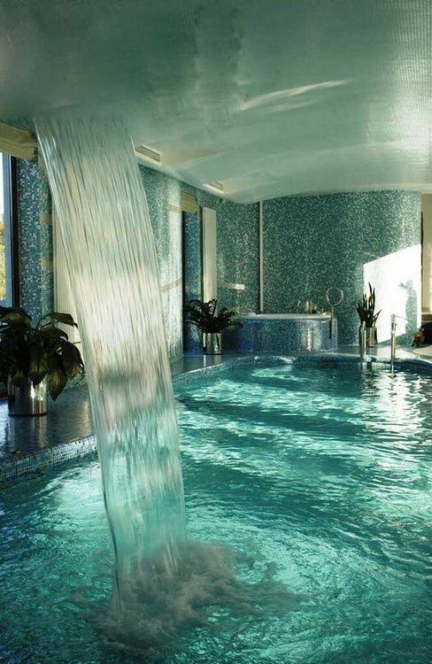 Indoor pool and waterfall...I wish!!