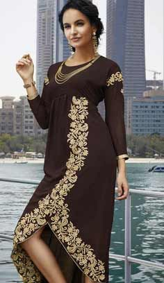 Latest Traditional Brown Faux Georgette Kurti