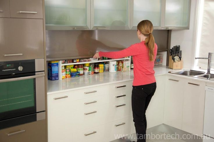 Tambortech Door Secret Splashback Pantry Cupboard - kitchen pantry organisation solution. Not roller doors or roller shutters... these are actually Tambortech Doors.