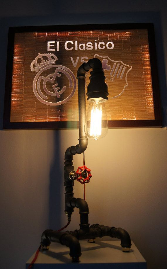 Industrial Pipe Lamp -Industrial Lighting - Table Lamp - Edison Bulb - Industrial furniture - Steampunk - Desk Lamp - Vintage - Lamp - Steel - Brass