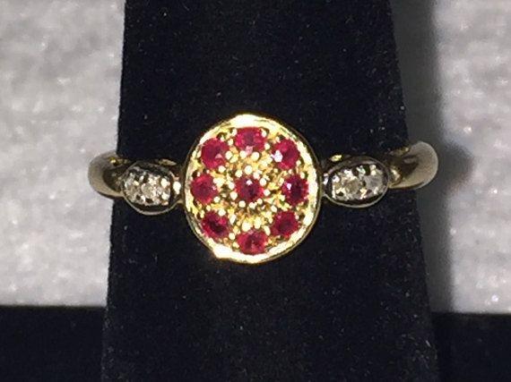 Vintage 14k Yellow Gold Natural Pave Ruby Ring Designer Sign