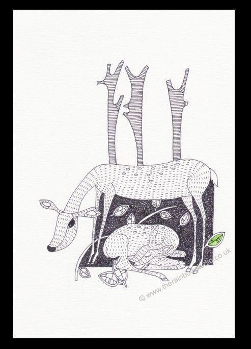 Deer with Fawn illustration print (ART024P)by Emma Giles. from www.therainbowstudio.co.uk