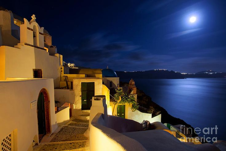 Full moon night in Santorini