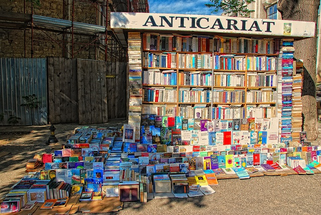 Books in Iasi, Romania - i took this same photo! I loved this little book shop! So many books, so many languages!!