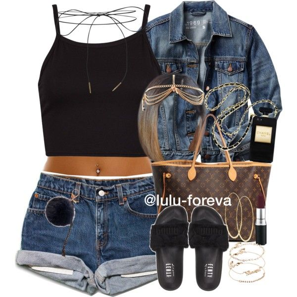 A fashion look from June 2016 featuring Gap jackets, Puma sandals and Louis Vuitton tote bags. Browse and shop related looks.