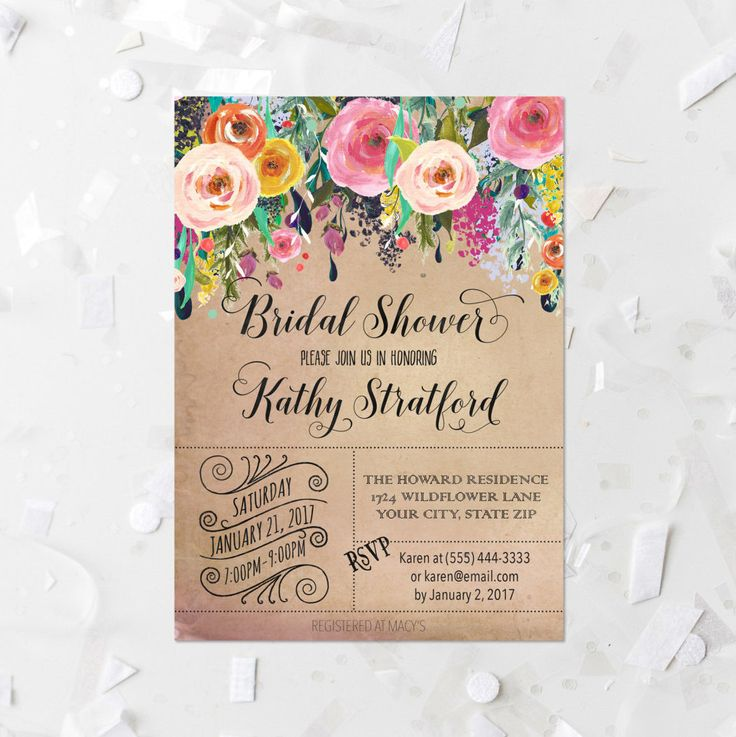Rustic Floral Bridal Shower Invitation Printable Blush Floral Bridal Shower Invite Antique Floral Bridal Shower Watercolor Flowers 216 by MossAndTwigPrints on Etsy