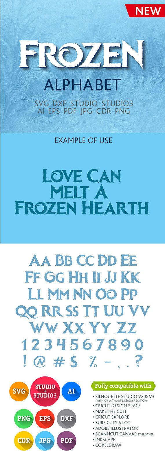 Frozen Font Alphabet Cuttable SVG DXF EPS Studio Studio3 Png Pdf Jpg Ai Cdr  files for Silhouette Studio, Cricut, Cameo
