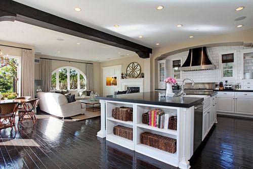 Dark Kitchen Cabniets Open To Dining Room