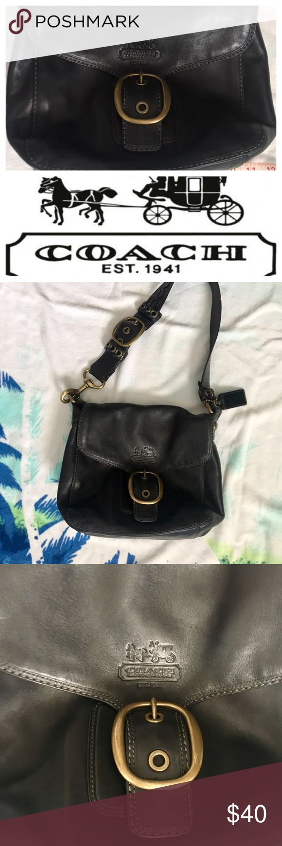 Vintage Black Coach Shoulder Bag EUC vintage black/charcoal bad.  Very little wear on bag.  See photos. Very good inside condition. Coach Bags Shoulder Bags