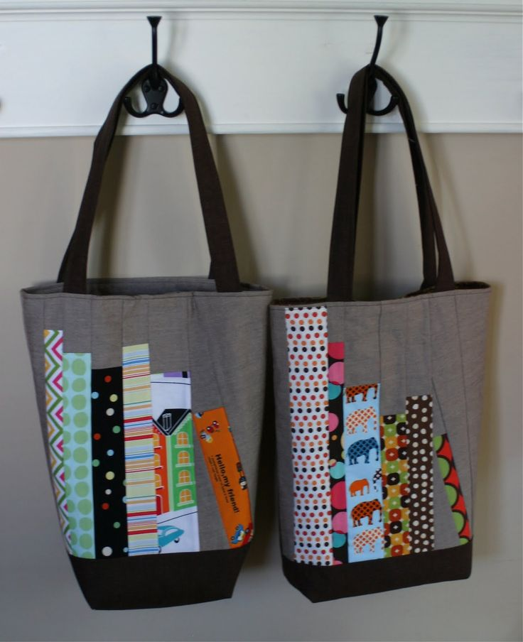 """These """"book bags"""" were inspired by Elizabeth's mini bookshelf quilt and Amy's library pillow -- I liked their projects so much, and thought..."""