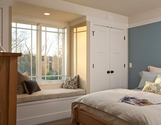 built-in closets with window seat