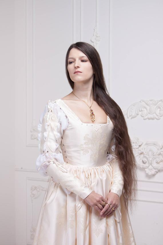 Abiti Da Cerimonia Ren 80.Renaissance Wedding Dress Ivory 15th Century Italian Gown Abiti