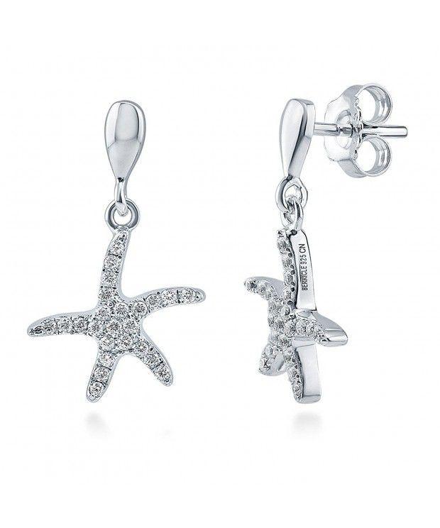 33c7b5bce Rhodium Plated Sterling Silver Cubic Zirconia CZ Starfish Fashion Dangle  Drop Earrings C912G0JA1PJ - Earrings,