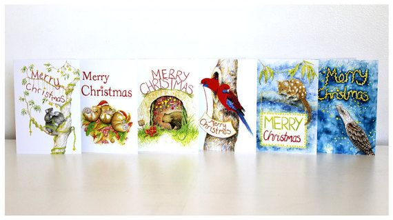 6 pack Australian Christmas Cards by StephanieHolmArt . These are printed from my original illustrations & feature some pretty cute Aussie animals including koalas, wombats, pygmy possums, rosellas, quolls & a tawny frogmouth. Merry Christmas! Gift ideas, natural history