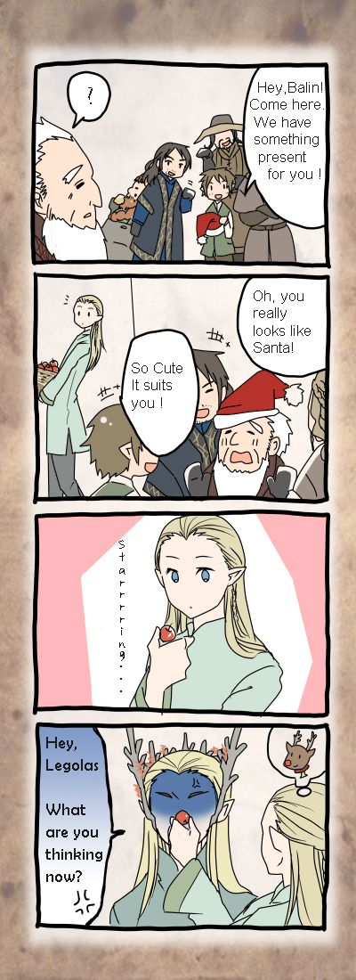 Hobbit at Christmas by   M-azuma.deviantart.com  Awwe poor Balin!  He's such a nice guy.  But he does look like Santa--delivering presents to the children of Middle Earth every year :)