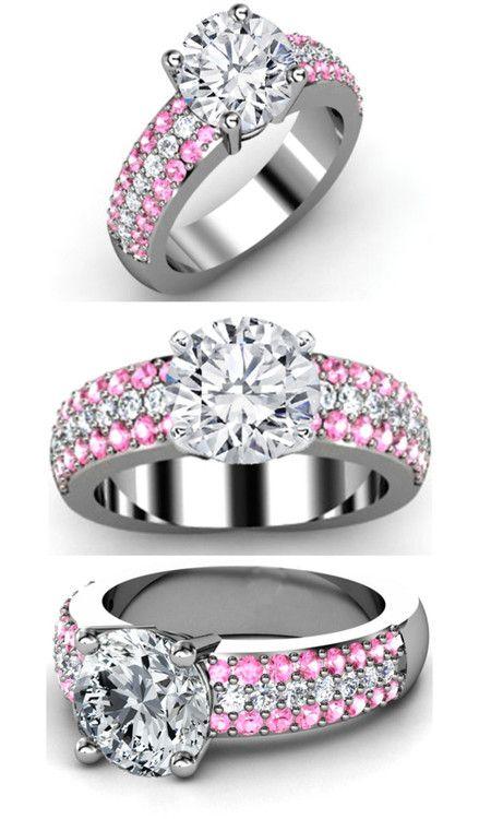Trio Pave Pink sapphire  Diamonds Engagement ring