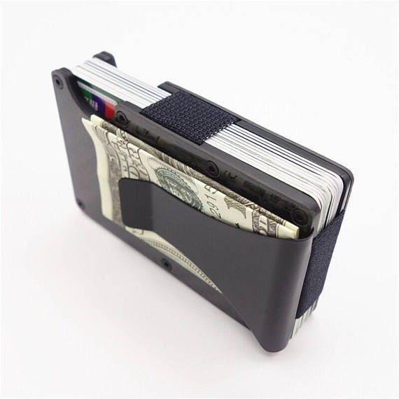 Brushed Aluminium Designer Rfid Trusted Protection Card Holder And Built In Money Clip Style Metal S Business Card Holder Wallet Card Holder Business Card Case