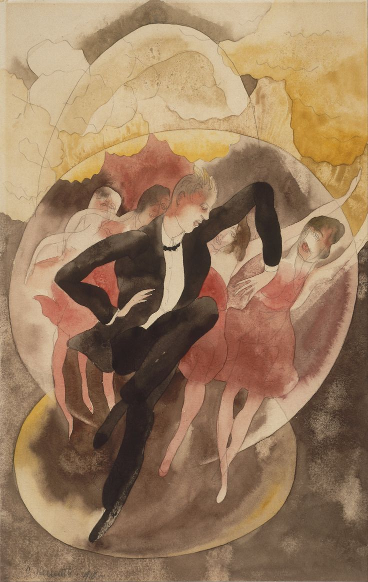 Watercolor art history brush - Huariqueje In Vaudeville Dancer With Chorus Charles Demuth 1918 American Watercolour On Paper