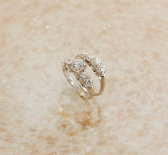 Great price for two rings  Vintage Diamond Engagement Ring Set by SITFineJewelry on Etsy, $5850.00
