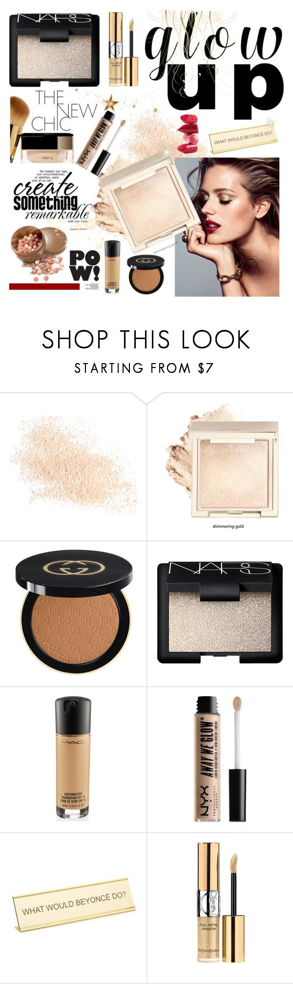 """""""Glowing"""" by yara-mikhael-deeb ❤ liked on Polyvore featuring beauty, Eve Lom, Gucci, NARS Cosmetics, MAC Cosmetics, Avon, NYX, Rossetto, He Said, She Said and Yves Saint Laurent"""