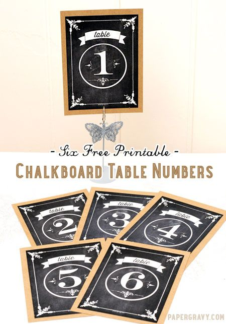 Free Printable Chalkboard Table Numbers - The Graphics Fairy