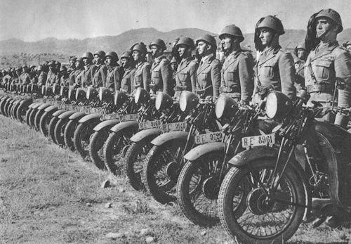 """Bersaglieri sharpshooter from the motorized regiments riding the Moto Guzzi Alce,"