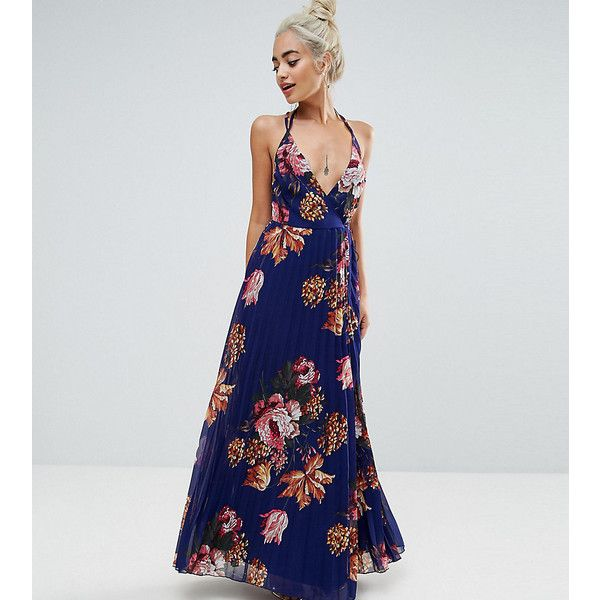 ASOS PETITE Floral Cami Pleated Maxi Dress (105 NZD) ❤ liked on Polyvore featuring dresses, navy, petite, floral dresses, denim maxi dresses, floral halter dress, navy floral dress and floral print maxi dress