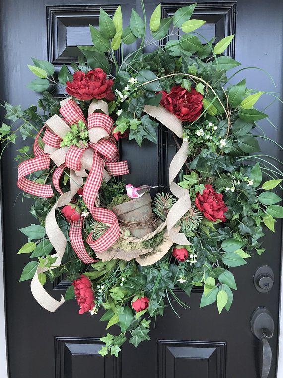 Spring Wreath Red Wreath Front Door Wreath Mothers Day Front Door
