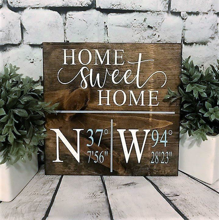 Personalized Home Sweet Home Gps Wood Sign Custom Address Longitude Latitude Coordinates First Home Gift Realtor Gift Housewarming Gift Home Wooden Signs First Home Gifts Custom Wooden Signs